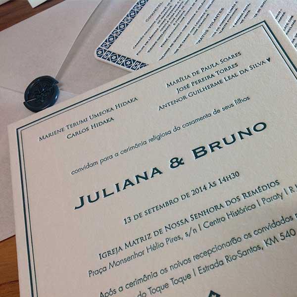 Convite de Casamento em Letterpress de Juliana e Bruno