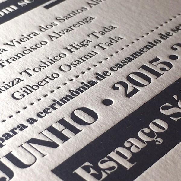 Convite de Casamento em Letterpress de Camila e Guilherme