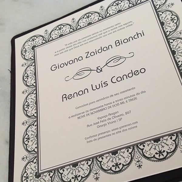 Convite de Casamento em Letterpress de Giovana e Renan