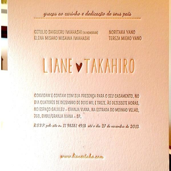 Convite de Casamento em Letterpress de Liane e Takahiro