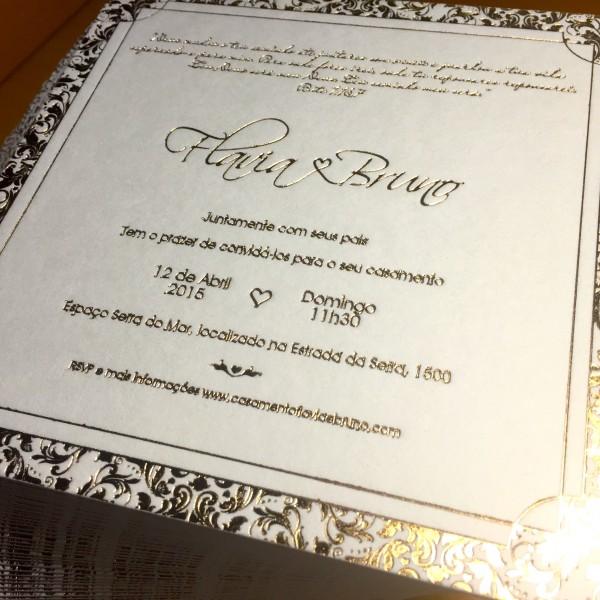 Convite de Casamento em Letterpress de Flávia e Bruno