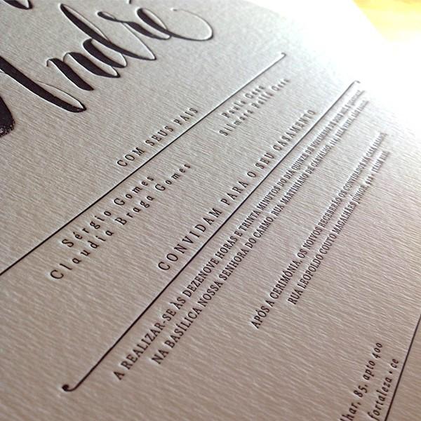 Convite de Casamento em Letterpress de Ticiana e André