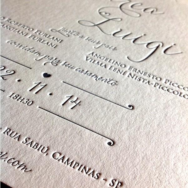 Convite de Casamento em Letterpress de Andrea e Luigi