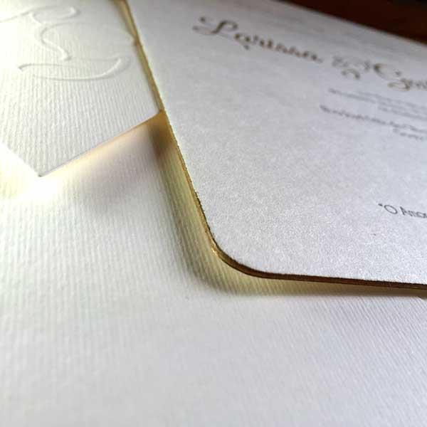 Convite de Casamento em Letterpress de Larissa e Guilherme