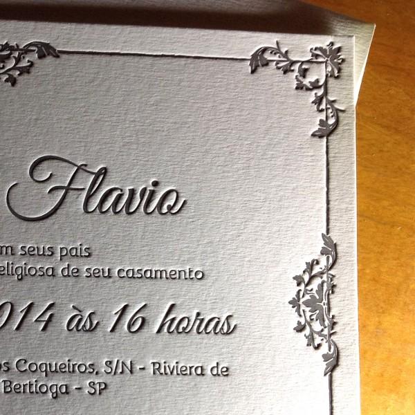 Convite de Casamento em Letterpress de Rosi e Flávio