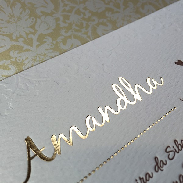 Convite de Casamento em Letterpress de Amandha e Guilherme