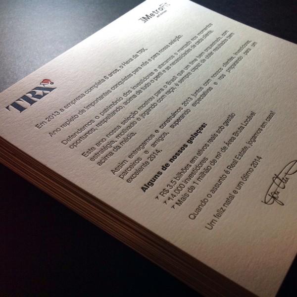 Cartão Social em Letterpress da TRX