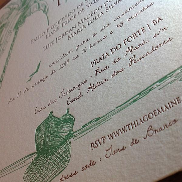 Convite de Casamento em Letterpress de Maine e Thiago