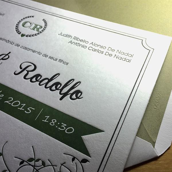 Convite de Casamento em Letterpress de Cláudia e Rodolfo