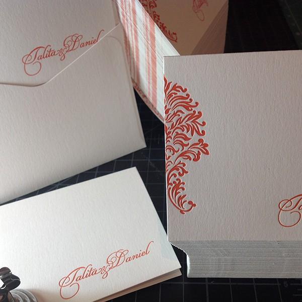 Convite de Casamento em Letterpress de Talita e Daniel