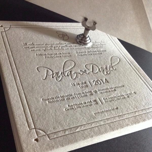 Convite de Casamento em Letterpress de Paula e Daniel