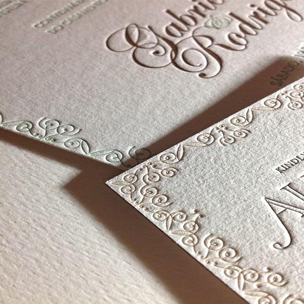 Convite de Casamento em Letterpress de Gabriela e Rodrigo