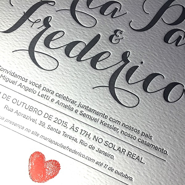 Convite de Casamento em Letterpress de Maria Paula e Frederico