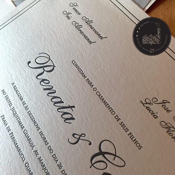 Convite de Casamento em Letterpress de Renata e Caio