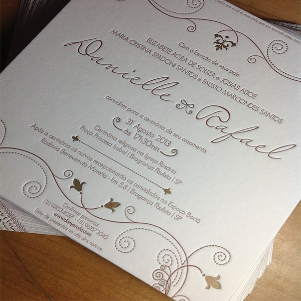 Convite de Casamento em Letterpress de Danielle e Rafael