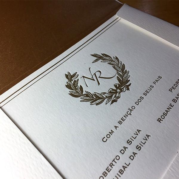 Convite de Casamento em Letterpress de Nicole e Rafael