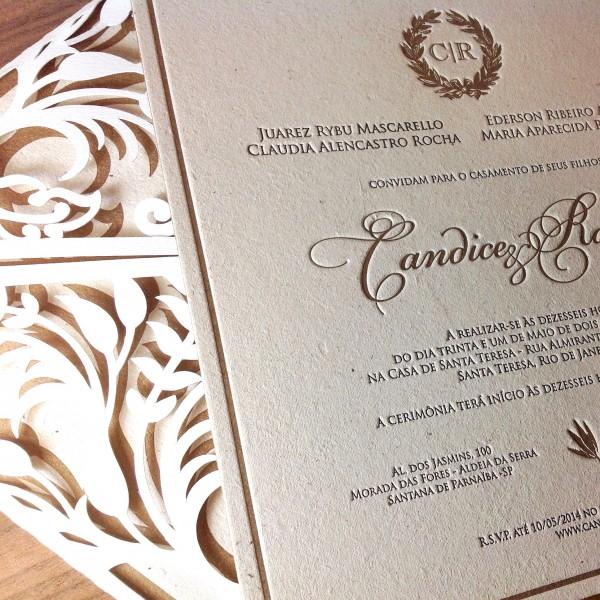 Convite de Casamento em Letterpress de Candice e Rafael