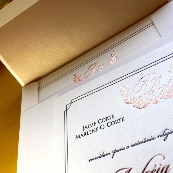 Convite de Casamento em Letterpress de Andréia e Renato
