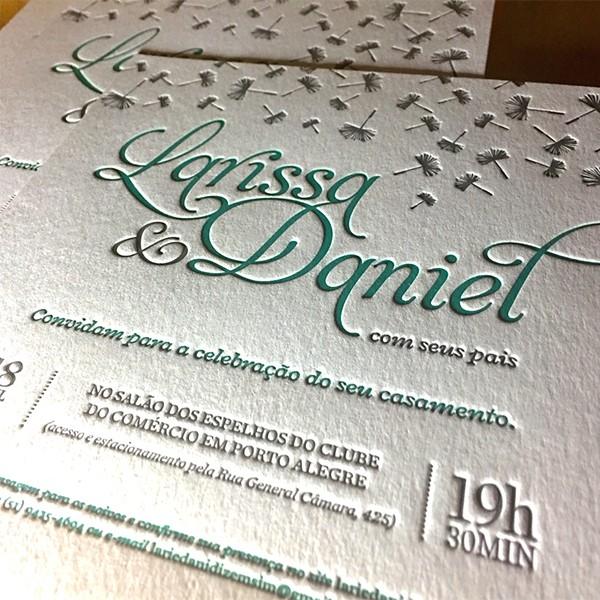 Convite de Casamento em Letterpress de Larissa e Daniel