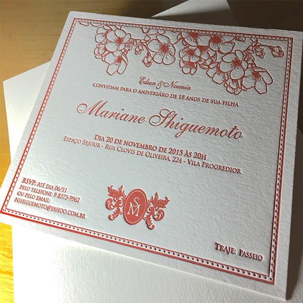 Convite de Aniversário em Letterpress de Mariane Fhiguemoto
