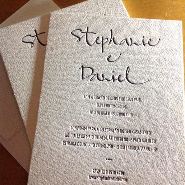 Convite de Casamento em Letterpress de Sthepanie e Daniel