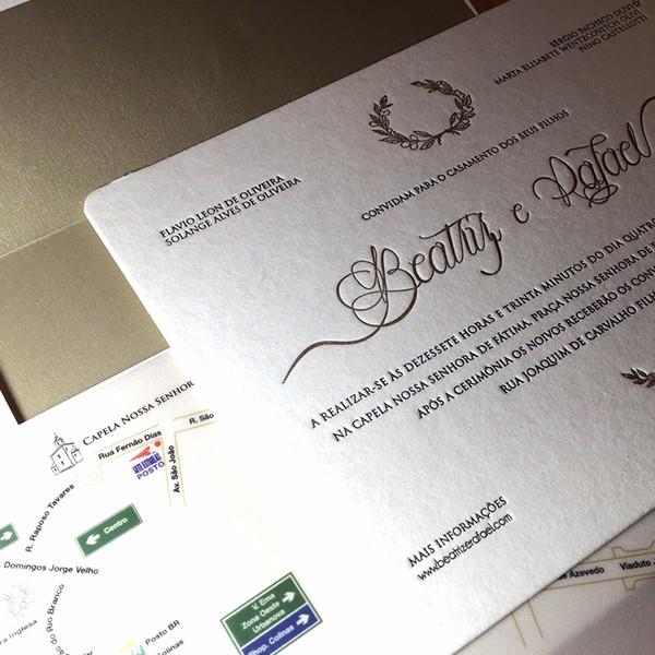 Convite de Casamento em Letterpress de Beatriz e Rafael