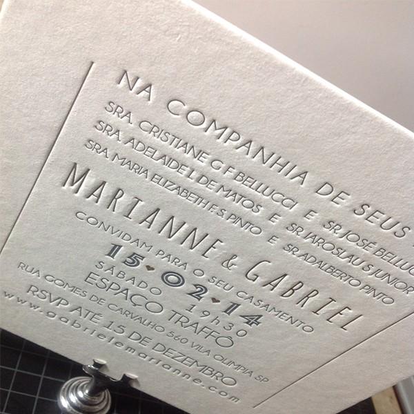 Convite de Casamento em Letterpress de Marianne e Gabriel
