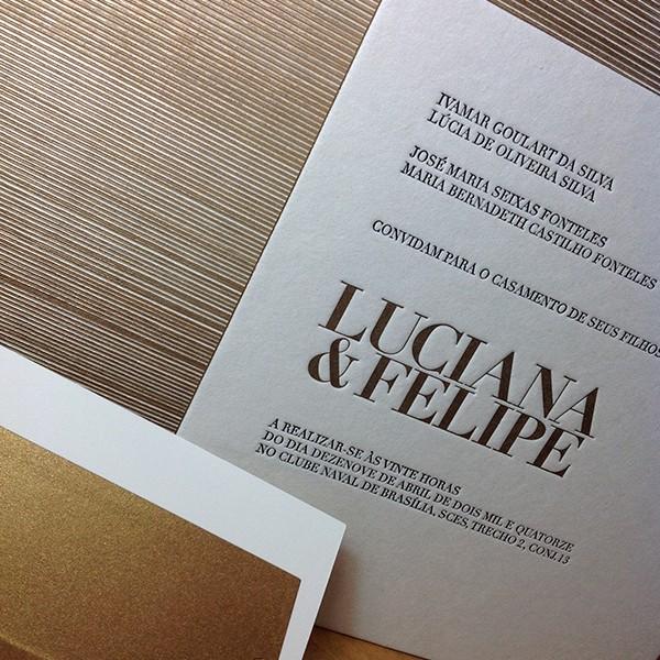 Convite de Casamento em Letterpress de Luciana e Felipe
