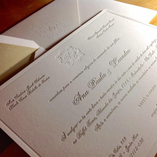 Convite de Casamento em Letterpress de Ana Paula e Leandro