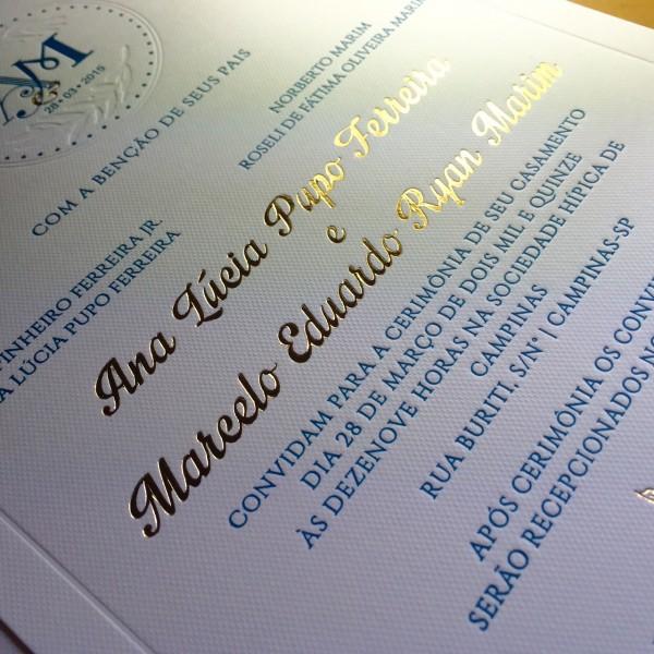 Convite de Casamento em Letterpress de Ana Lúcia e Marcelo